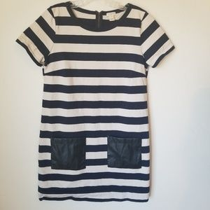 J CREW - Navy White Striped Dress with Pockets